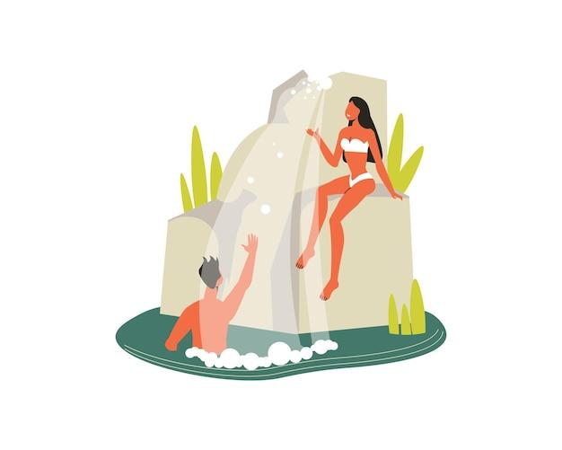 Composición de senderismo con vista al acantilado con cascada y hombre bañándose con ilustración de mujer