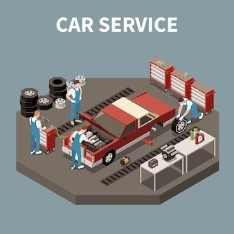 Composición de servicio de automóvil isométrica y aislada con dos trabajadores e ilustración de reparación de automóviles
