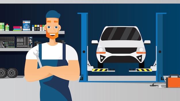 Composición de servicio de coche con joven técnico con llave inglesa