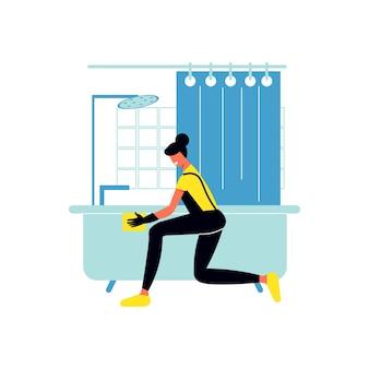 Composición del servicio de limpieza con carácter humano del trabajador del servicio de limpieza que lava la tina de baño