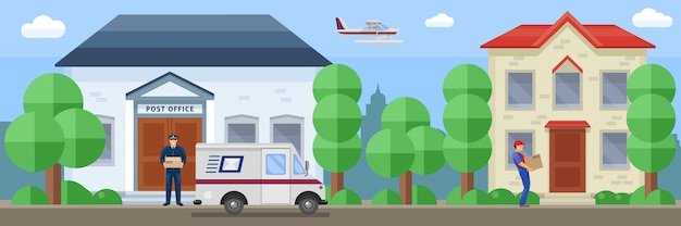 Composición del servicio postal con el empleado cerca de la oficina de correo y entrega del pedido por ilustración de vector de destino