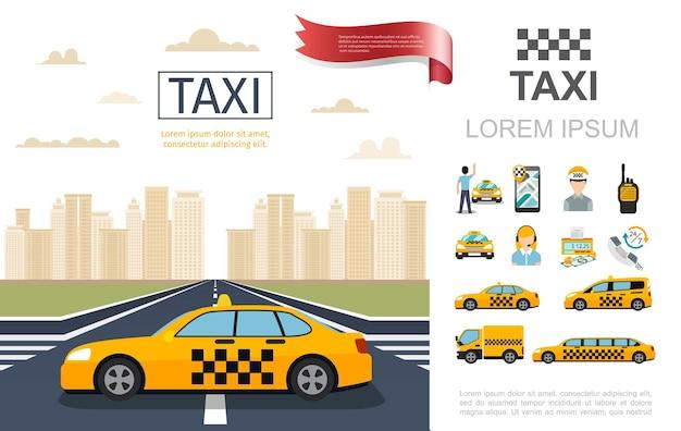 Composición del servicio de taxi plano con taxi en la carretera, operador de pasajeros, contador de dinero, radio, conjunto de ilustración de diferentes coches móviles