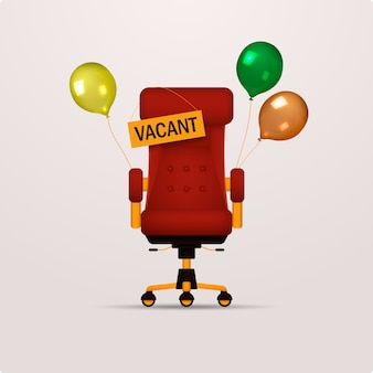 Composición con una silla de oficina, globos y un cartel vacante.