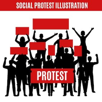 Composición de siluetas de protesta social