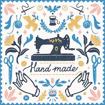 Composición simétrica hecha a mano: elementos vintage en estilo de sello y máquina de coser con letras hechas a mano