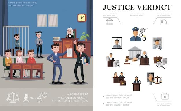 Composición del sistema de ley plana con oficial de policía, lupa, esposas, acusado, juez, mazo, jurado, abogado, edificio judicial, proceso de sesión judicial