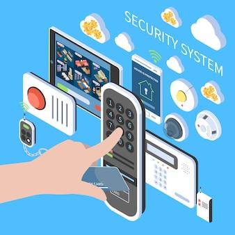 Composición del sistema de seguridad con alarma remota contra incendios, videoportero, sistema de vigilancia en el hogar, iconos isométricos