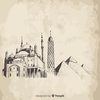 Composición de skyline de el cairo dibujado a mano