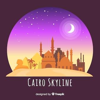 Composición de skyline de el cairo con diseño plano