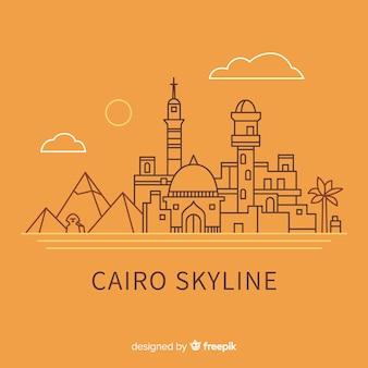 Composición de skyline de el cairo con estilo lineal