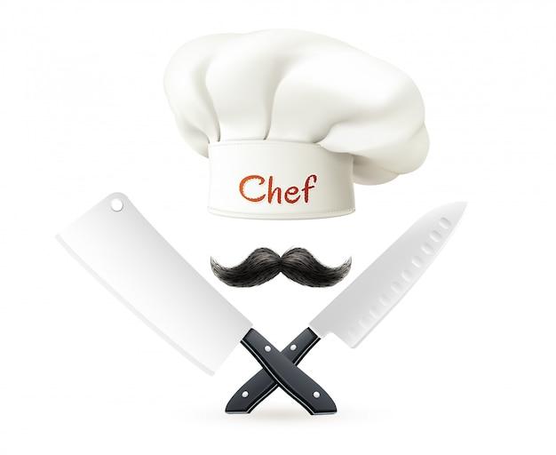 La composición del sombrero del cocinero con el bigote rojo de las letras y los cuchillos cruzados en el fondo blanco vector la ilustración