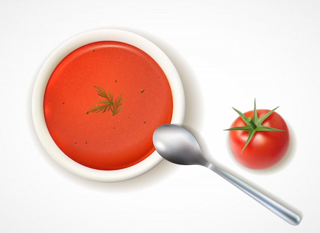 Composición de sopa de tomate realista con vista superior del plato de mesa y cuchara con fruta de tomate madura