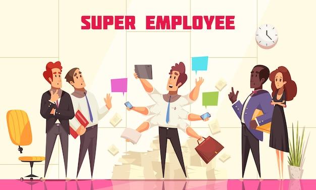 Composición de súper empleado con personas en el interior de la oficina mirando a su compañero de trabajo con muchas manos, concepto de multitarea, ilustración vectorial plana