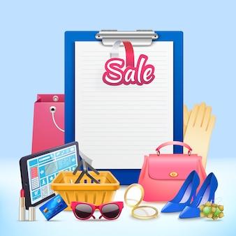 Composición de tablero de clip de compras