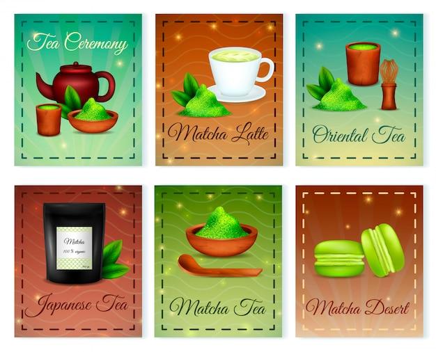 Composición de tarjetas de polvo oriental orgánico té verde japonés matcha con accesorios de postre latte aislado