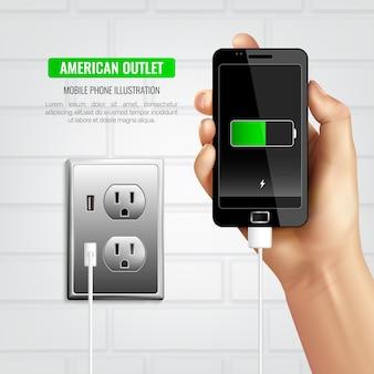 Composición del teléfono móvil de american outlet