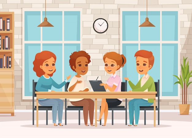 Composición de terapia grupal de dibujos animados coloreados con adolescentes en reuniones de psicología en el aula