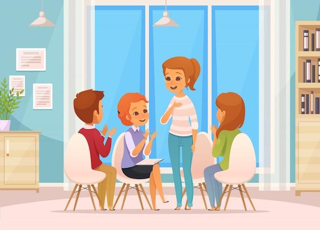 Composición de terapia grupal de dibujos animados coloreados con cuatro niños hablan sobre terapia grupal