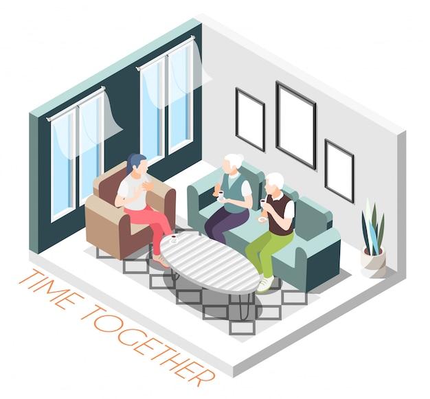 Composición de tiempo isométrica de color junto con la niña visita a los padres en la ilustración de su casa