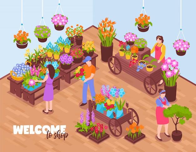 Composición de la tienda de floristas isométrica