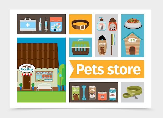 Composición de la tienda de mascotas plana