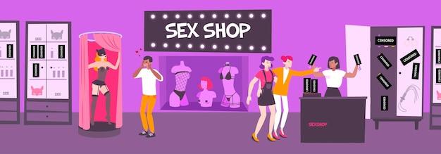 Composición de la tienda de sexo con imágenes planas de las exhibiciones de la tienda de los visitantes de la tienda en un ambiente interior con juguetes sexuales