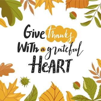 Composición de tipografía para el día de acción de gracias.