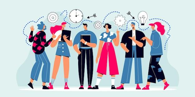 Composición del trabajo en equipo con un grupo de personajes de doodle de compañeros de equipo con reloj de engranajes e ilustración de iconos de destino
