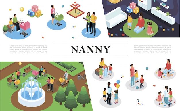Composición de trabajo de niñera isométrica con niñera jugando diferentes juegos y caminando con niños