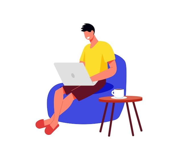 Composición de trabajo de personas independientes con hombre sentado en una silla suave con portátil
