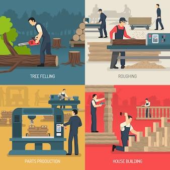 Composición de trabajos en madera