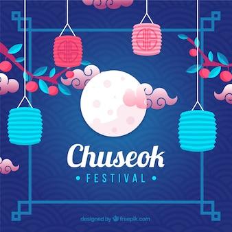 Composición tradicional de chuseok con diseño plano