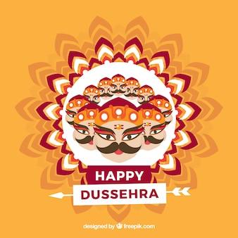 Composición tradicional de dussehra con diseño plano
