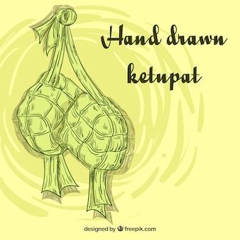 Composición tradicional de ketupat dibujada a mano