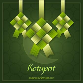Composición tradicional de ketupat con diseño plano