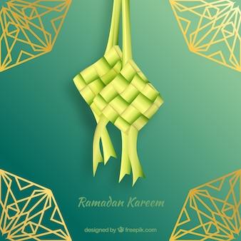 Composición tradicional de ketupat con diseño realista