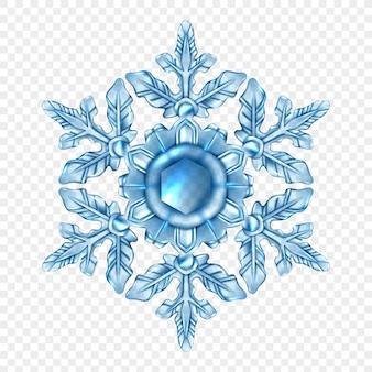 Composición transparente de copo de nieve realista