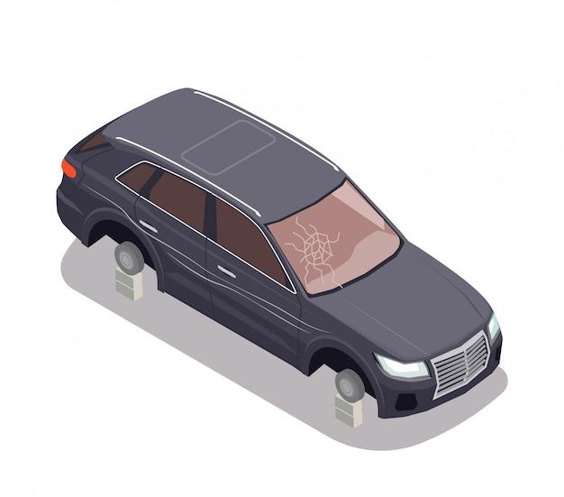 Composición de transporte con coche negro sin neumáticos y con parabrisas roto sobre fondo blanco isométrico 3d