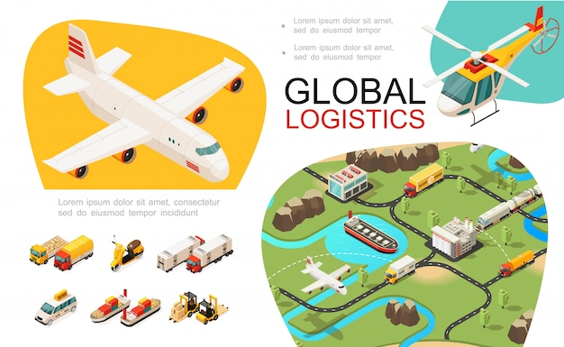 Composición de transporte global isométrica con red logística internacional avión helicóptero camiones scooter coche barco carretillas elevadoras