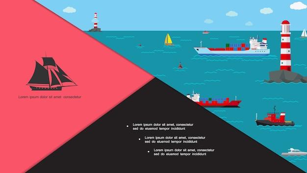 Composición de transporte marítimo plano