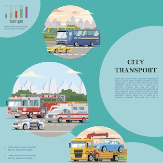 Composición de transporte público de la ciudad plana con autobús taxi policía ambulancia coches tranvía bomberos y grúas