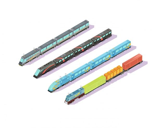 Composición de trenes de cuatro imágenes aisladas de conjuntos de trenes isométricos con autos barnizados y ilustración de vector de tren de equipaje