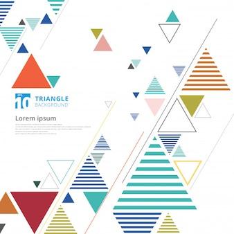 Composición triángulo colorido abstracto sobre fondo blanco