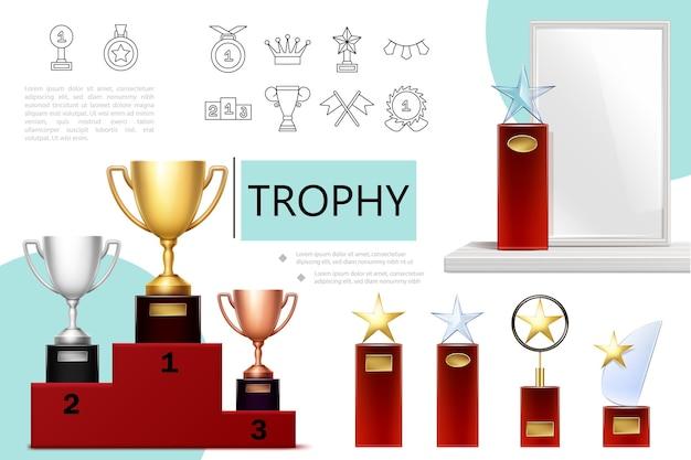 Composición de trofeos realista con copas de bronce dorado plateado en trofeos de estrellas de pedestal e iconos lineales de premios