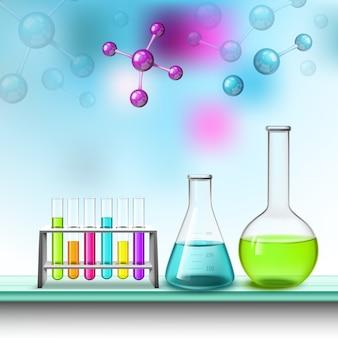 Composición de tubos y moléculas de color