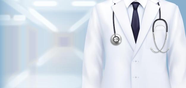 Composición de uniforme médico con vista de cerca realista de bata blanca de médicos con ilustración de estetoscopio y corbata