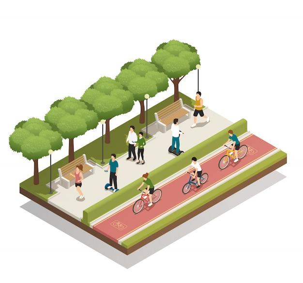 Composición urbana con transporte ecológico