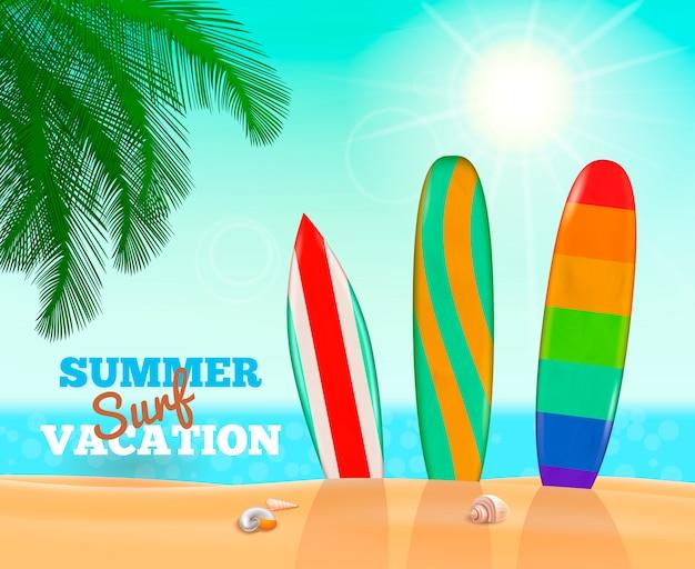 Composición de vacaciones de surf de verano