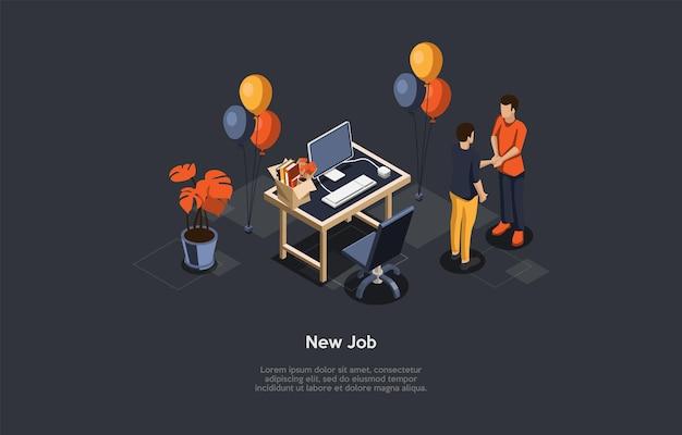 Composición del vector en el nuevo concepto de trabajo. ilustración isométrica, estilo de dibujos animados 3d. feliz celebración del empleo. lugar de trabajo con escritorio, computadora y silla de oficina, globos alrededor. dos personas dándose la mano.