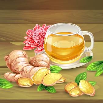 Composición del vector del té del jengibre en fondo de madera